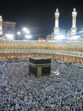 Night Kaaba. Holly Kaaba in Mecca, Saudi Arabia royalty free stock photography