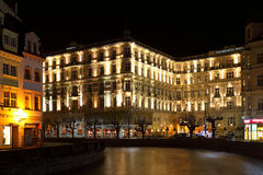 Night Karlovy Vary Stock Photo