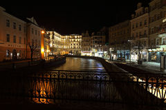 Night Karlovy Vary Stock Photography