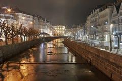 Night Karlovy Vary cityscape royalty free stock photography