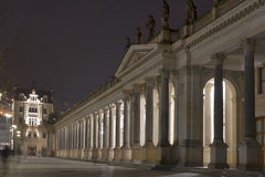 Night Karlovy Vary cityscape with Mill Colonnade royalty free stock photography