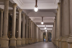 Night Karlovy Vary Mill Colonnade Stock Image