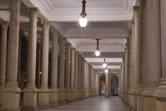Night Karlovy Vary Mill Colonnade stock image
