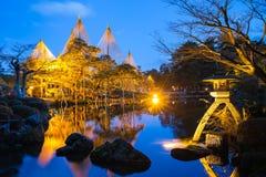 Night at Kenroku-en Garden in Kanazawa, Japan.  stock images