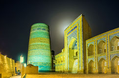 The night in Khiva. The illumination of Kalta Minor Minaret, makes it even more beautiful and magic, Khiva, Uzbekistan stock images