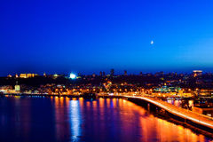 Night Kiev from the bridge Royalty Free Stock Images