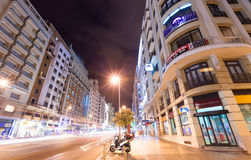 Night kind of Madrid.   Gran Via Stock Photos