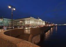 Night kind on quay of Neva and Academy of arts Stock Photo