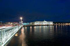 Night kind on quay of Neva and Academy of arts Stock Photography