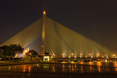 Night at King Rama 8 Bridge and Chao Phraya River, Bangkok Thail Stock Photos