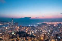 Night of Kowloon District, Hong Kong stock photography
