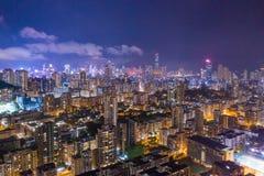 Night of Kowloon District, Hong Kong royalty free stock photo