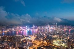 Night of Kowloon District, Hong Kong royalty free stock photography