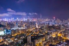 Night of Kowloon District, Hong Kong stock photos