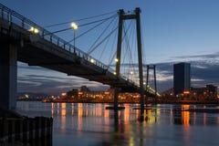 Night Krasnoyarsk, a pedestrian bridge. Over the Yenisei Royalty Free Stock Photos