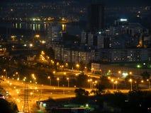 Night Krasnoyarsk. Siberia, the night view of Krasnoyarsk city royalty free stock images