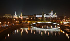 Night Kremlin on the banks of the river Moscow. Stock Photography