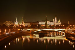Night Kremlin on the banks of the river Moscow. Stock Photos
