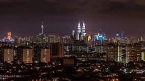 Night in Kuala Lumpur, Malaysia. KUALA LUMPUR, MALAYSIA - 6TH APRIL 2015 : View of The Petronas Twin Towers during night in Kuala Lumpur, Malaysia. Petronas are Royalty Free Stock Images