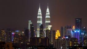 Night in Kuala Lumpur, Malaysia. KUALA LUMPUR, MALAYSIA - 6TH APRIL 2015 : View of The Petronas Twin Towers  in Kuala Lumpur, Malaysia. Petronas are the tallest Royalty Free Stock Photo