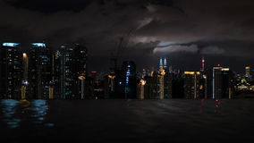 Night Kuala Lumpur, view from rooftop pool Royalty Free Stock Photo