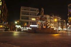 Night Kuasadasi. Kusadasi, Turkey - November 15, 2014: The intersection of Ataturk Boulevard and Inonu Boulevard at night Royalty Free Stock Photography