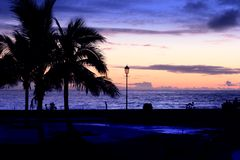 Night La Palma shore stock images