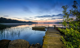 Night lake landscape in Norway Stock Photos