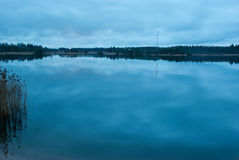 Night lake. Lake in Leningrad oblast, Russia in night light Royalty Free Stock Image