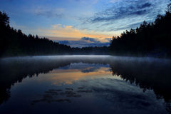 Night lake. Misty lake in summer night Royalty Free Stock Photo