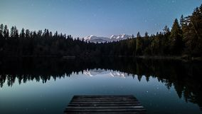 Night Lake Stars Moon Mountains Timelapse 4k stock footage