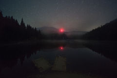 Night on the lake Synevir Royalty Free Stock Photos