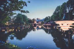 Night lake at the Tivoli amusement park in Copenhagen stock photography