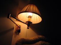 Night lamp. Lamp above the bed in Galileo Meridian Hotel – Milano Royalty Free Stock Photos