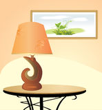 Night lamp and picture. Fragment of interior Stock Photography