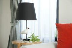 Night lamp standing on nightstand Stock Photo