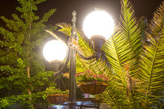 Night lamps with flowers in Pomorie, Bulgaria royalty free stock photos