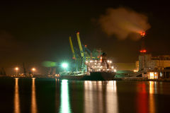 During a night landing. Night landing  at the Port of Gdansk phosphors  at Quay Chemists Royalty Free Stock Photos