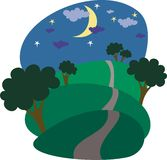 Night landscape. Nocturnal landscape with trees, road Stock Photography