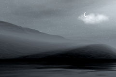 Night landscape. Night 3d graphics landscape - ocean and mountains in fog and moon Stock Images