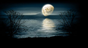 Night landscape. Moon over the sea - night landscape Stock Image