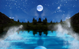 Night landscape. Fantasy night landscape with full moon and lake stock photos