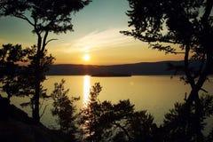 Night landscape against a decline. Lake Baikal royalty free stock photos