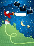 Night landscape with airplane, banner, hill and photo frames. Vector illustration eps10 royalty free illustration