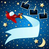Night landscape with airplane, banner and photo frames. Vector illustration eps10 stock illustration