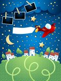 Night landscape with airplane, banner and photo frames. Vector illustration eps10 royalty free illustration