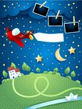 Night landscape with airplane, banner, river and photo frames. Vector illustration eps10 stock illustration