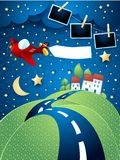 Night landscape with airplane, hilly road and photo frames. Vector illustration eps10 royalty free illustration