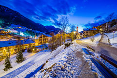 Night landscape of an Alpine Village Royalty Free Stock Images