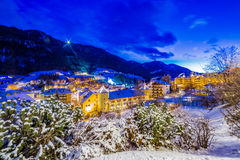 Night landscape of an Alpine Village Royalty Free Stock Photo